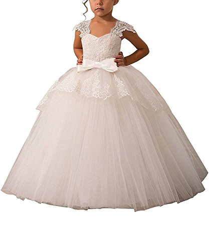 Carat Elegant Lace Appliques Cap Sleeves Tulle Flower Girl Dress White Color With White Sash Size 4