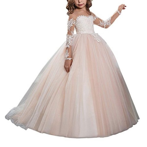 Carat Lace Embroidery Sheer Long Sleeves Kids Trailing Gowns Picture Color Size 6