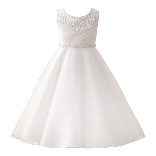 Castle Fairy Girls' First Communion Organza Sequin Pearls Flower Girl Dress with Train Size 10