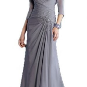 CCHAPPINESS Women's Chiffon Mother of the Bride Dress with Jacket Grey US 18W