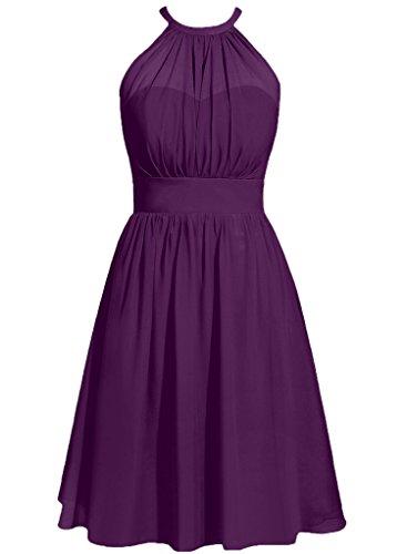 Cdress Halter Chiffon Bridesmaid Dresses Short Prom Party Gowns Cocktail Dress Grape US 4