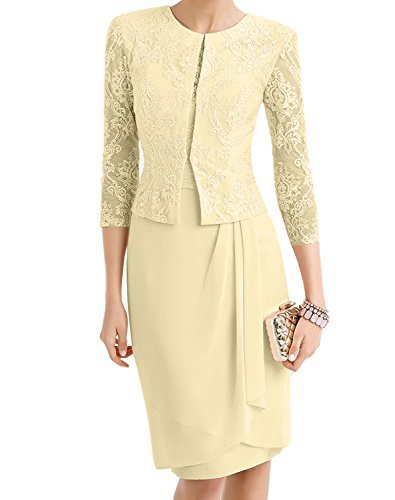 Charm Bridal 3/4 Sleeve Jacket Chiffon Lace Mother of the Bride Pencil Dress -10-Champagne
