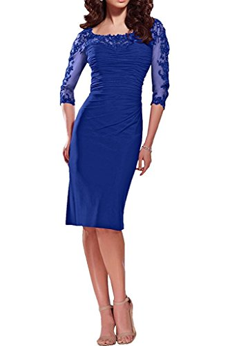 Charm Bridal New Fitted Knee Length Mother of the Bride Dress 1/2 Long Sleeves -4-Royal Blue