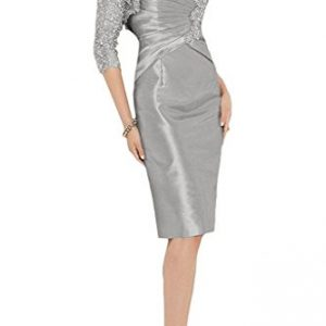 Charm Bridal New Fitted Satin V Neck Mother of the Bride Dress with Lace Jacket -20W-Grey