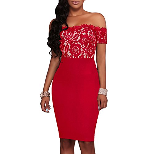 Charmore Women's Lace Top Off The Shoulder Bodycon Party Cocktail Dress (L, Red)