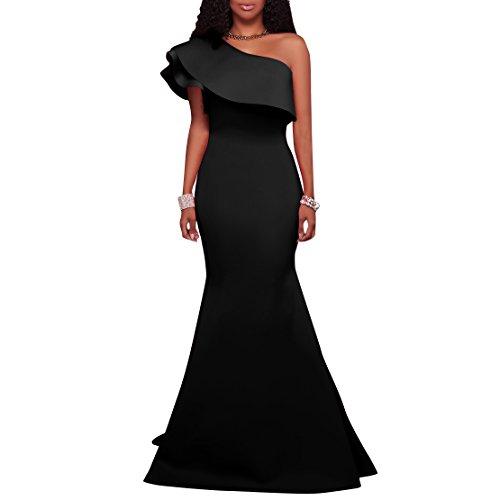 fea09621c27 Charmore Women s One Shoulder Ruffle Bodycon Evening Party Maxi Dress