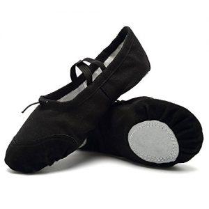 CIOR Ballet Slippers for Girls Classic Split-Sole Canvas Dance Gymnastics Yoga Shoes Flats(Toddler/Little Kid/Big Kid),VTW01,black,28