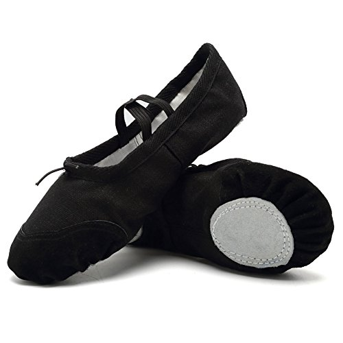 CIOR Ballet Slippers for Girls Classic Split-Sole Canvas Dance Gymnastics Yoga Shoes Flats(Toddler/Little Kid/Big Kid),VTW01,black,28