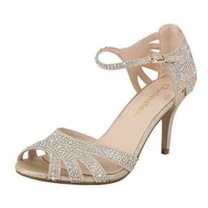 City Classified Reason Women's Strappy Open Toe Iridescent Low Heel (6.5, Light Gold)
