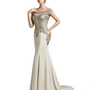 Clearbridal Women's Mermaid Evening Dress New Arrival 2018 Formal Prom Gown Champagne