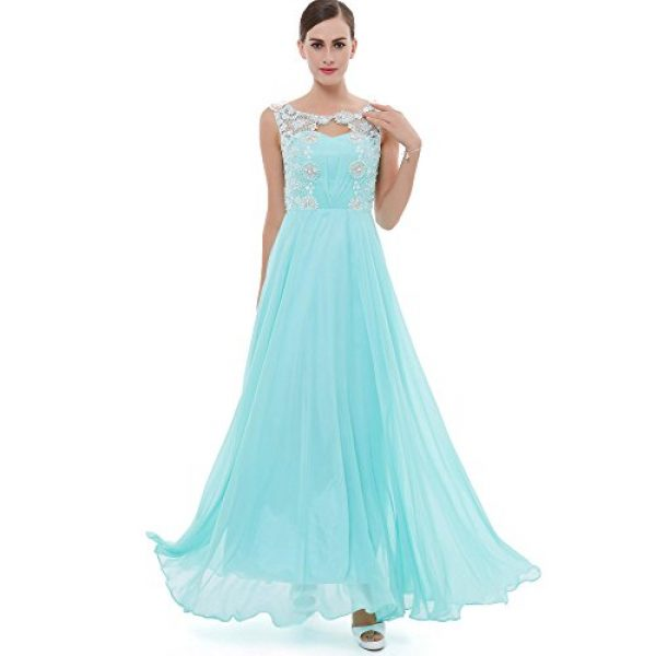 CLOCOLOR Women's Straps Lace Appliques Pearls Long Prom Dress Beaded Chiffon Celebrity Evening Dresses