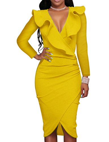 CXINS Womens Elegant Women Ruffle V Neck Bodycon Cocktail Midi Dresses Long Sleeves Frill Evening Party Dress Size M Long Sleeve Yellow