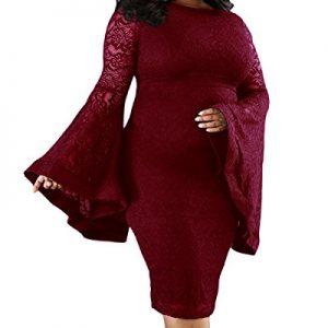Daci Women's Plus Size Bell Sleeves Lace Sexy Bodycon Wedding Cocktail Party Dress Wine 18W