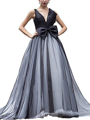 DarlingU Women's 2018 Formal Plunging Neck Prom Evening Dresses With Bowknot Quinceanera Gowns Black 8