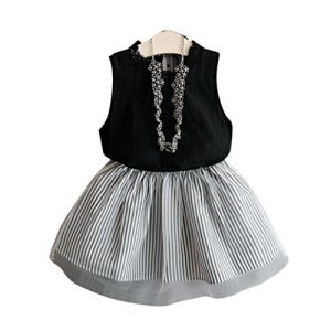 DaySeventh Girls Vest Pleated Two Pieces Cute Clothes Set Children Skirt (6-7 Years, Black)