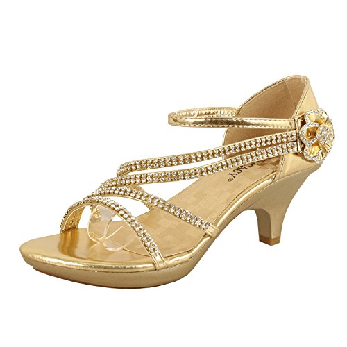 Delicacy Womens Strappy Rhinestone Dress Sandal Low Heel Shoes Heeled Sandals, 48Gold, 10