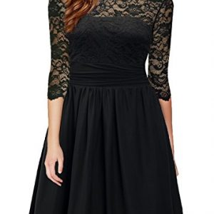 DILANNI Womens Vintage 1950s Lace 3/4 Sleeve Black Lace Flare A-Line Dress