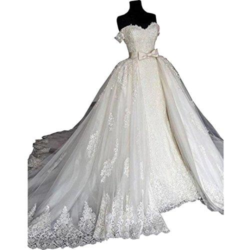 DingDingMail 2018 Luxury Off-Shoulder Lace Mermaid Wedding Dresses with Detachable Skirt Applique Corset Back Bridal Gowns