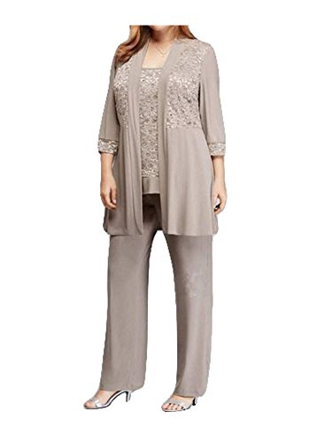 c605ac4c Dislax Chiffon Mother of the Bride Pant Suits 3 Pieces with Jacket Grey US  26plus