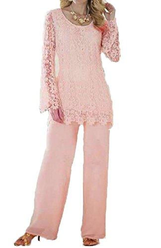 Dislax Two Piece Lace Mother of Bride Pants Suit pink US 18plus