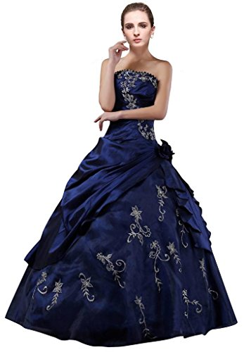 DLFashion Strapless A-line Embroidered Taffeta Prom Dress L-14 Blue