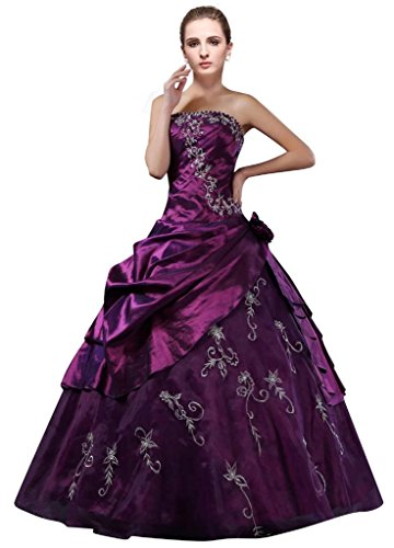 DLFashion Strapless A-line Embroidered Taffeta Prom Dress S-6 Purple