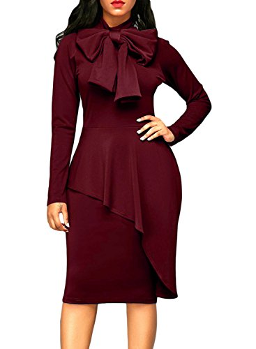 Dokotoo Womens Plus Size Office Elegant Formal Cotton Ladies High Neck Long Sleeve Peplum Bodycon Midi Pencil Dresses Party Under 20 Wine XX-Large
