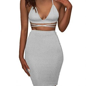 Doramode Sequins Shiny Lace-up Blackless Slim Fit Wrap High-waisted Two Pieces Set Special Occasion Dress White Medium