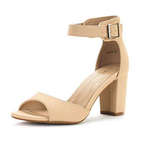 Dream Pairs Women's HHER Nude Nubuck Low Heel Pump Sandals - 8 M US