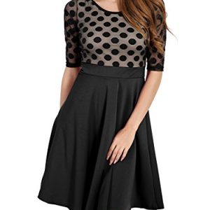 Dreaweet Women's 1950'S Vintage Mesh Polka Dot 2/3 Sleeve Casual Swing A-Line Dress