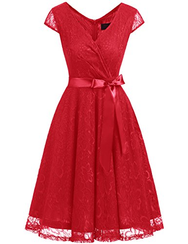 Dresstells Short V Neck Bridesmaid Ruched Dress Lace Cocktail Dresses With Belt Red S