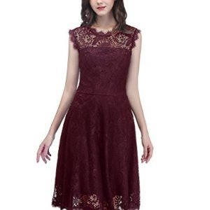 DresstellsWomen's Elegant Open Back Lace Cocktail Dress For Special Occasions Burgundy S