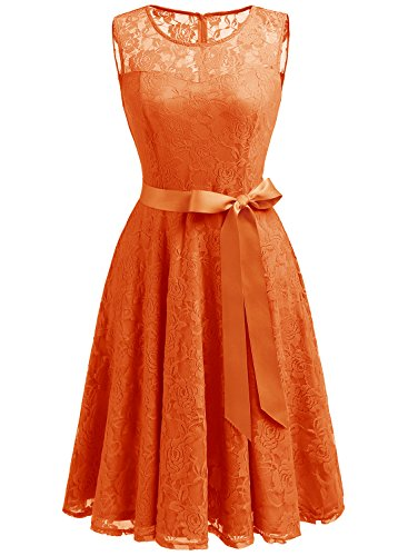 Dressystar DS0009 Women's Floral Lace Dress Short Bridesmaid Dresses With Sheer Neckline L Orange