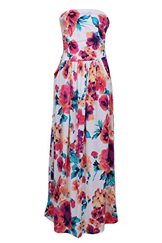 Dunea Women Strapless Maxi Vintage Floral Print Graceful Party Long Dress (Small, White)