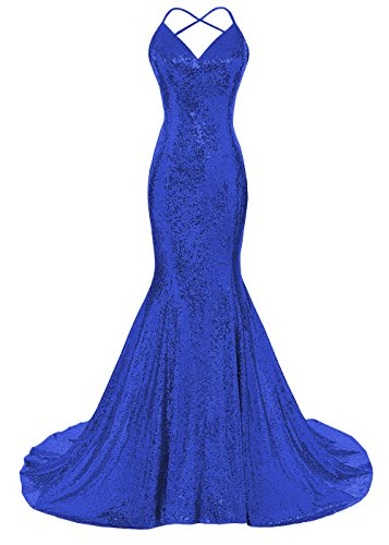 DYS Women's Sequins Mermaid Prom Dress Spaghetti Straps V Neck Backless Gowns Royal Blue US 4