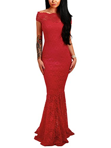 Elapsy Womens Sexy Off Shoulder Bardot Lace Evening Gown Fishtail Maxi Dress Red Small