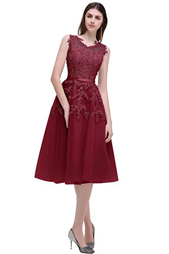 Elegant Beads Lace Appliques Sheer Mesh Flare Party Dress Short Bridesmaid Dress