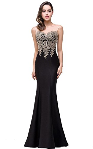 Elegant Lace Appliques Women Formal Long Mermaid Evening Gowns Prom Party Dress, 4, Black