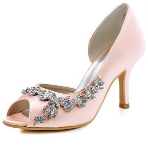 ElegantPark HP1542 Women Peep Toe Rhinestones Pumps High Heel Satin Wedding Bridal Dress Shoes Blush US 8