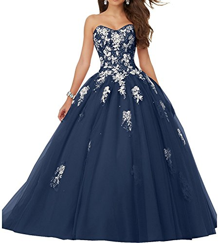 Elley Women's Sweetheart Lace Applique Sweet 16 Corset Back Floor Length Ball Gown Quinceanera Pagenat Dress Navy Blue US16