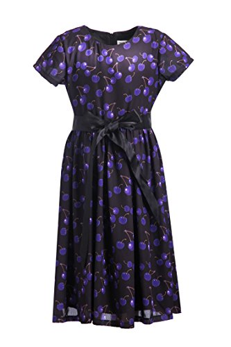 Emma Riley Girls' Short Sleeve Printed Chiffon Party Dress With Satin Belt, Purple Cherry, 10