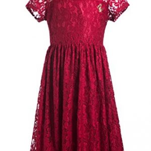 Emma Riley Girls' Short Sleeve Stretch Full Lace Party Dress With Butterfly Embellishment, Purplish Red, 8