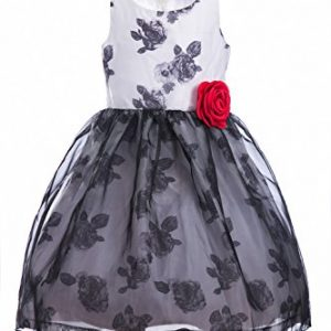 Emma Riley Girls' Sleeveless Printed Floral Tulle Princess Party Dress With Rosette Flower, Flower Black, 8
