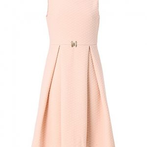 Emma Riley Sleeveless Pleated A-line Textured Knit Party Dress Wedding Birthday 8 Light Beige