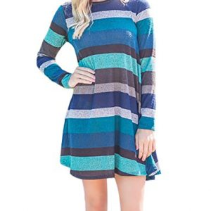 FADDARE Shift Dress For Women With Sleeves,New Arrivals Tunics,Stripes Blue S