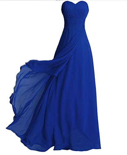 FAIRY COUPLE Chiffon Strapless Bridesmaids Dress D0072 (US6,Royal Blue)