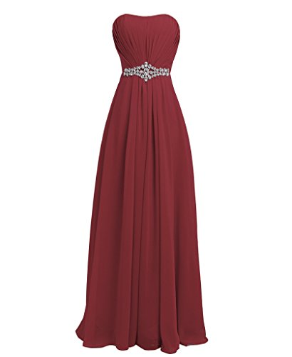 FAIRY COUPLE Strapless Chiffon Elegant Prom Evening Bridesmaid Dress with Diamonds D004 (US14, Burgundy)