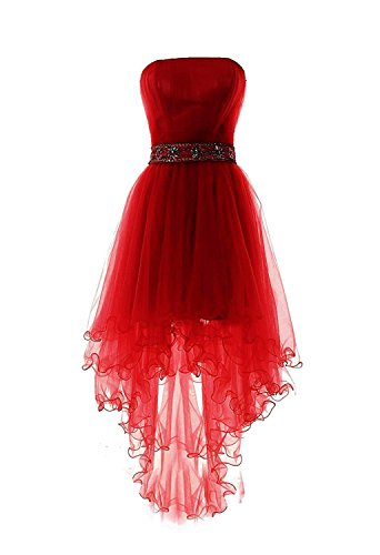 Fanciest Women s Strapless Beaded High Low Prom Dresses Short Homecoming  Gowns Red US6