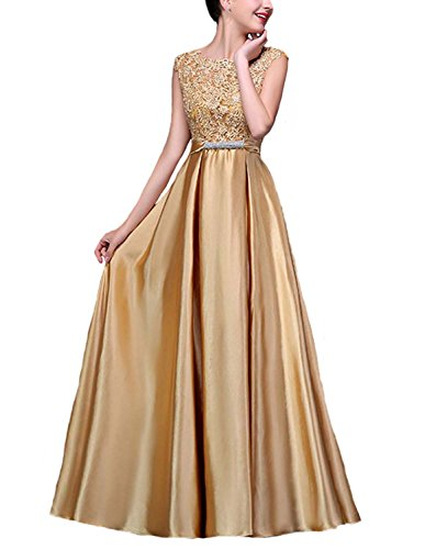 Fanhao Women's Elegant O Neck Floral Lace Satin Long Evening Prom Dress,Golden,XS