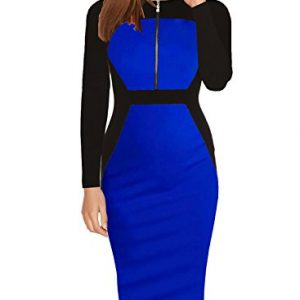 Fantaist Women's Fall Long Sleeve Elegant Cocktail Dresses For Special Occasions (M, FT601L-Blue)